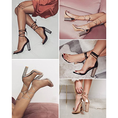 PVC jianhui up Zapatos Fiesta Sandalias Elegant Sandalias Peep Lace Casuales High Heels Zapatos Toe Verano Romanoas Heel Sandalias Zapatos Sandalias Block De De Mujer InrwI