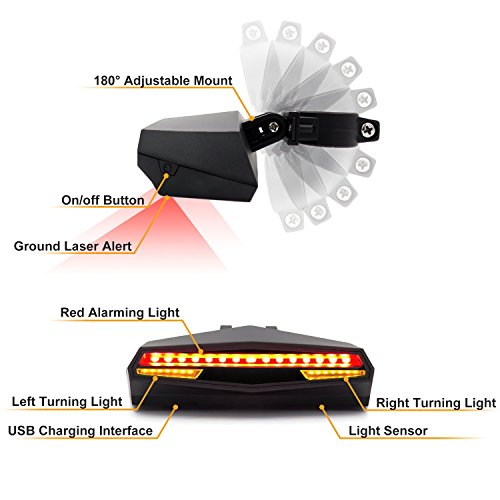 Ampulla Rechargeable Bike Tail Light LED - Remote Control, Turning Lights, Ground Lane Alert, Waterproof, Easy Installation for Cycling Safety Warning Light by Ampulla (Image #5)