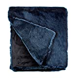 Fabulous Furs: Faux Fur Luxury Throw Blanket, Steel Blue Mink, Available in generous sizes 60''x60'', 60''x72'' and 60''x86'', by Donna Salyers