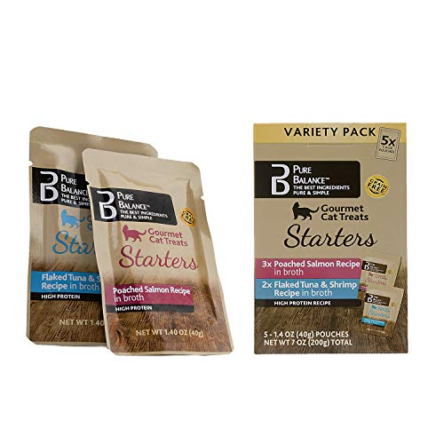 Pure Balance Gourmet Cat Treats Variety Pack Poached Salmon Flaked Tuna and Shrimp Recipe