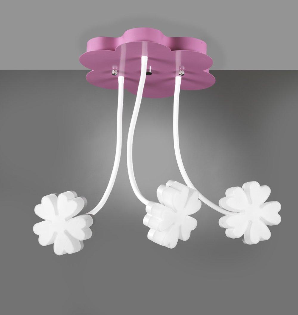 ONLI - Plafoniera lampada da soffitto Alice 3 LED integrati flessibili 18W colore bianco e rosa decorazione fiore cameretta bambina diametro 50cm altezza 60cm illuminazione camera bambini