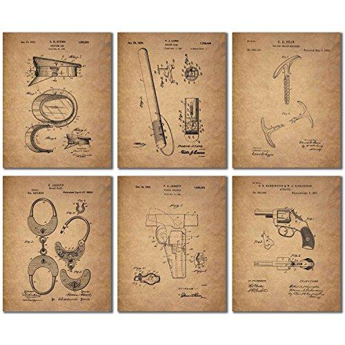 Police Patent Wall Art Prints - Set of 6 Vintage Photos