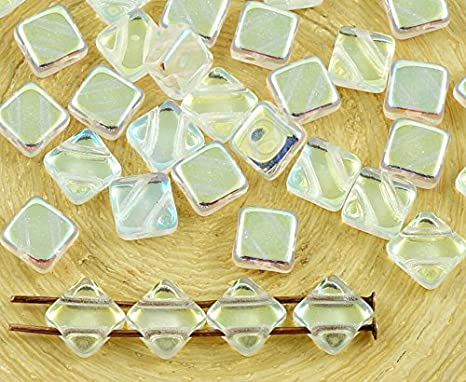 30pcs Rhombus Flat Square Silky 2 Two Hole Czech Glass Beads 6mm x 6mm