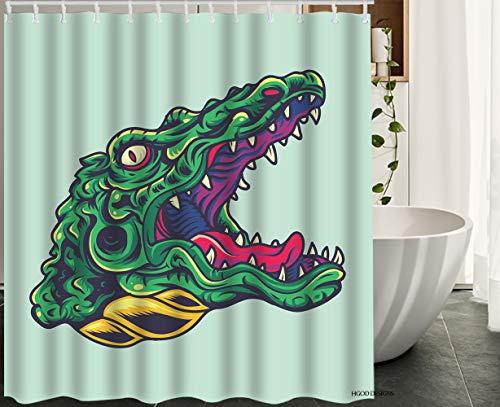 HGOD DESIGNS Crocodile Shower Curtain,Vintage Cartoon Crocodile Alligator Head Old School Tattoo Waterproof Polyester Bath Shower Curtain Size 60x72 Inch -