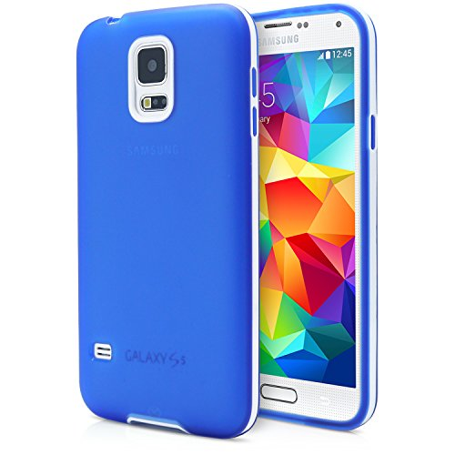 Galaxy S5 Case, MagicMobile® New Deluxe 2-Piece Stylish Ultra Slim Thin White Frame Bumper Smooth Flexible TPU Cover [Color - Blue ] with Free Screen Protector and Stylus