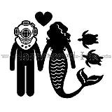 Mermaid & Diver Love Die Cut Vinyl Car Decal Window Sticker
