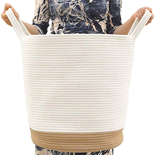 KavaasCasa Extra Large Woven Storage Baskets - 18 x 16 inches Cotton Rope Basket for Living Room - Wicker Blanket Basket Organizing - Coiled Round Laundry Hamper with Handles (White & Brown) ()
