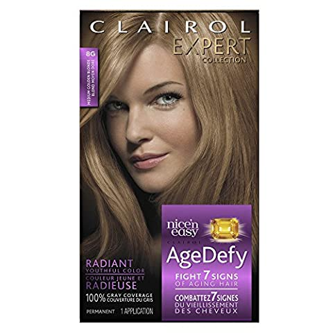 Clairol Age Defy Expert Collection, 8G Medium Golden Blonde, Permanent Hair Color, 1 Kit ()