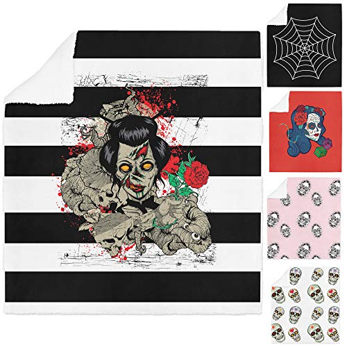 Adam Home 3D Digital Print Printing Soft Sherpa Halloween Fleece Blanket Bed Throws & Couch Vibrant Colours - Zombie Girl - Large - 150 x 200cm]()