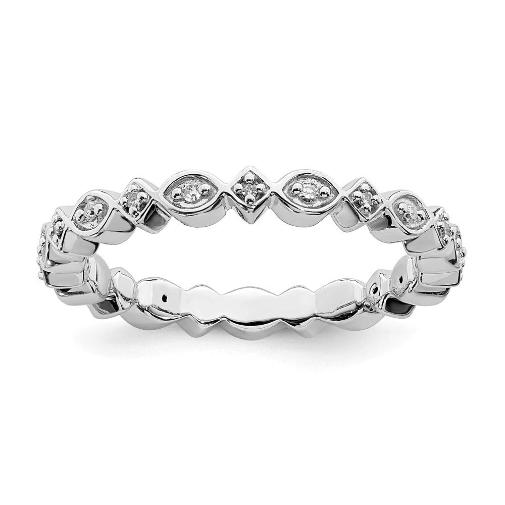 Stackable Expressions 2.75mm Sterling Silver Diamond Eternity Ring - Size 8