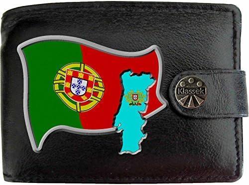7ec146c753a58 Portugal Flagge KLASSEK Herren Geldbörse Portemonnaie Brieftasche  Portugiesisch Wappen aus echtem Leder schwarz Portugal Geschenk Präsent Mit  Metallbox