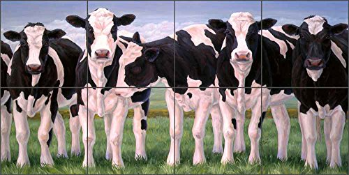 Ceramic Tile Mural Backsplash - Cow Art - The Girls by Linda Elliott - Kitchen Bathroom Shower (24