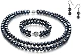 PearlsOnly - Julika Black 6-7mm Double Strand A Quality Freshwater Cultured Pearl Set-23 in Matinee length