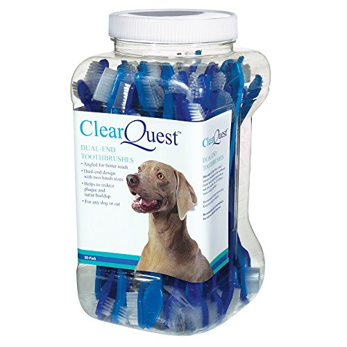 ClearQuest Dual-End Pet Toothbrushes, 9-Inch, 50/Canister, (Colors Vary) ()