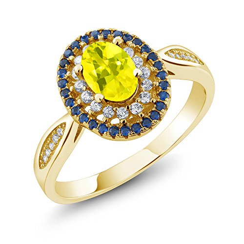 1.55 Ct Oval Canary Mystic Topaz 18K Yellow Gold Plated Silver (18k Topaz Ring)