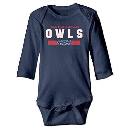 Kids Baby NCAA FAU Owls Navy Frame Football Logo Romper Jumpsuit Navy