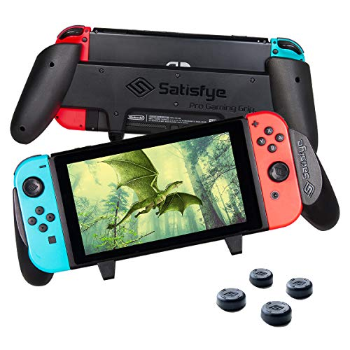 Satisfye - Accessories Compatible with Nintendo Switch - Comfortable & Ergonomic Switch Grip, Joy Con & Switch Control - #1 Switch Accessories Designed for Gamers. FREE BONUS: 4 - Switch Handle
