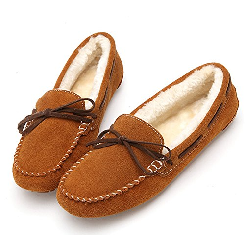 feetmat Frauen Loafers Lighweight Bow Flachboot Slip-Ons Driving Shoes Hellbraun