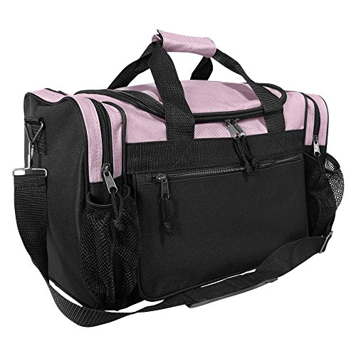 DALIX 17' Duffle Travel Bag with Front Mesh Pockets in Pink