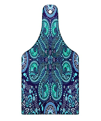Lunarable Paisley Cutting Board, Motifs Inspired with Ivy Flowers Round Shapes, Decorative Tempered Glass Cutting and Serving Board, Wine Bottle Shape, Indigo Teal Cadet Blue Slate Blue