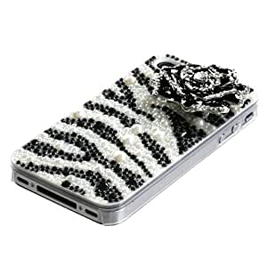 White Zebra Skin Corsage Pearl 3D Diamante Back Protector Faceplate Cover For APPLE iPhone 4S/4/4G