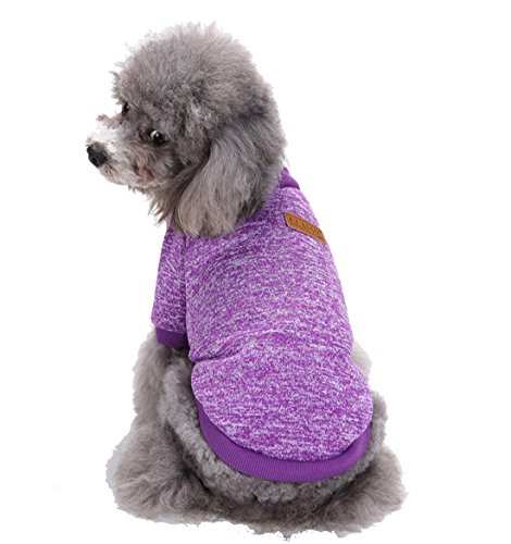 - GabeFish Dogs Clothes Pullover Fleece Hoodie For Small Medium Puppy Pets Cats Autumn Winter Apparel Sweatshirt Purple Medium