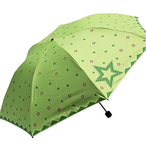 Reinhar Folding Umbrella Rain Women Automatic With Flowers Mini Parasols Felame Semsiye Ghibli Beach Lacy Sun Umbrella Windproof Green