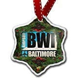 Christmas Ornament Airportcode BWI Washington DC - Neonblond
