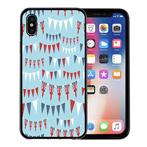 - Emvency Phone Case for Apple iPhone Xs Case/iPhone X Case,Red British of United Kingdom Party Bunting Clipping Path Soft Rubber Border Decorative, Black