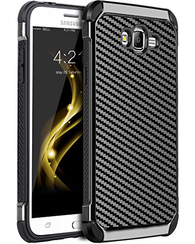 Galaxy Grand Prime Case, Galaxy J2 Prime Case, BENTOBEN 2 in 1 Hybrid Hard PC Cover Carbon Fiber Slim Shockproof Protective Phone Cases for Galaxy Grand Prime G530/J2 Prime/Grand Prime Plus, Black (Htc Phone One Camo Cases For Men)