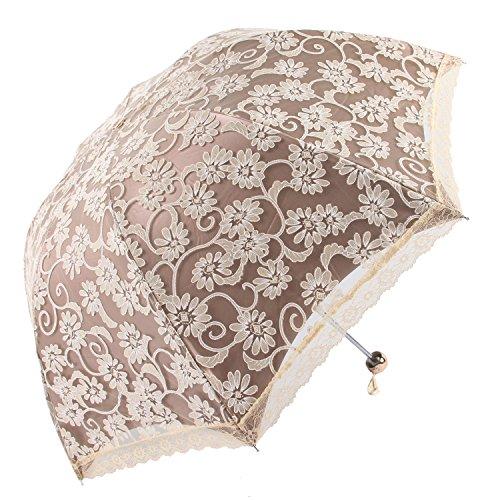 Honeystore Lace Travel Parasol Folding Anti-uv Windproof Embroidery Umbrella 3 Folding -