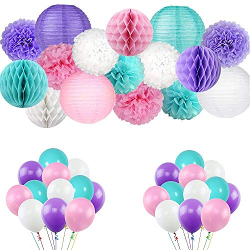 Kalolary Mermaid Party Supplies, 56 PCS Mermaid Birthday Party Decorations, Unicorn Balloons, Tissue Pom Poms, Paper Lantern and Honey Comb Balls Pack | Set for Girls Birthday, Baby Shower -