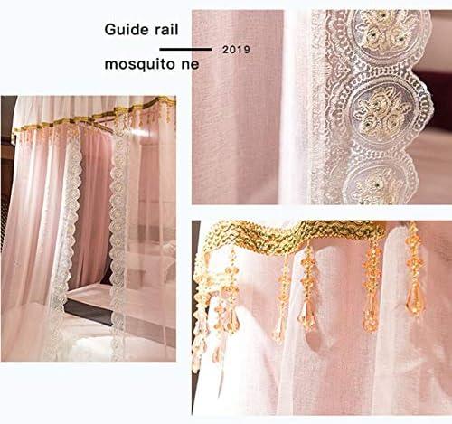 プリンセスラグジュアリーモスキートネット,の-タイプ 引き込み式 ベッドキャノピー 余分な大規模な ヨーロッパの宮殿 クリスタルビーズ付きベッドカーテン -ピンク