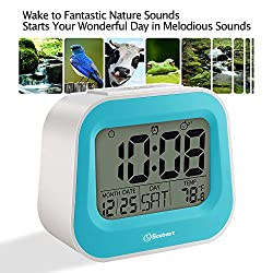 Soobest Nature Sounds Digital Alarm Clock with Adjustable Snooze Time, 3.5 Large Digits Display, Electric Powered Battery Backup Alarm, Ascending Volume, Simple to Set Electronic Clock(Blue)