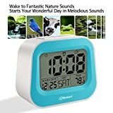 """Soobest Nature Sounds Digital Alarm Clock with Adjustable Snooze Time, 3.5"""" Large Digits Display, Electric Powered Battery Backup Alarm, Ascending Volume, Simple to Set Electronic Clock(Blue)"""