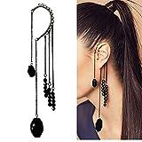 Modsnde Ear Cuff Earring No Piercing Bead Tassel Ear Wrap Cuff Earrings Punk Long Chain Drop Dangle Earrings for Women Non Pierced Earring 1 Piece
