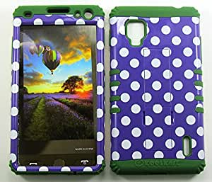 Cell-Attire Shockproof Hybrid Case For LG Optimus G, LS970 and Stylus Pen, Dark Green Soft Rubber Skin with Hard Cover (Polka Dots, Purple, White) Sprint by runtopwell
