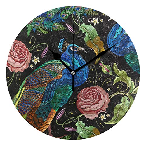 (ALAZA Peacocks Flowers Peonies Decorative Wall Clocks Battery Operated 10 Inch Round Silent Non Ticking Modern Design for Living Room Bedroom Home Decor)