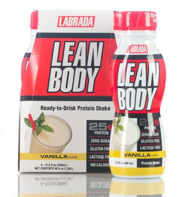 LABRADA - Lean Body RTD Whey Protein Weight Loss Shake, Zero Sugar - Gluten & Lactose, Convenient On-The-Go Meal Replacement Shake for Men & Women Muscle Building Supplement, Vanilla, (Pack of 4)