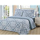 Dream Bedding Pinsonic Rich Printed Reversible 6 Pieces Quilt and Sheet Set, Queen Size, White Damask with Blue Base Pattern