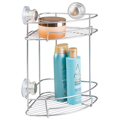 Two Tier Corner Basket (mDesign Suction Bathroom Shower Caddy Corner Basket for Shampoo, Conditioner, Soap - 2 Tiers, Silver)