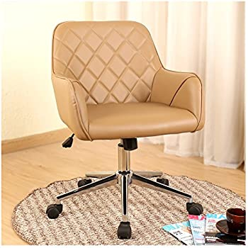 stylish office chairs for home. Veigar Stylish Office Chair PU Leather Mid Back Executive Home With Adjustable Height, Desk Task Swivel (Brown) Chairs For