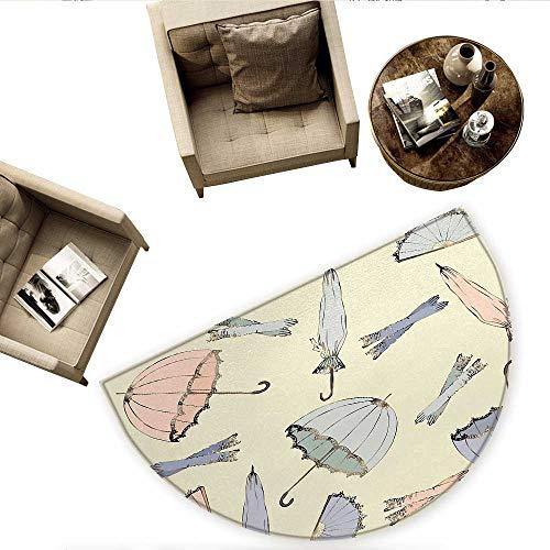 (Vintage Semicircular CushionVintage Fashionable Umbrellas and Old Nostalgic Gloves Fyling Modern Art Entry Door Mat H 70.8