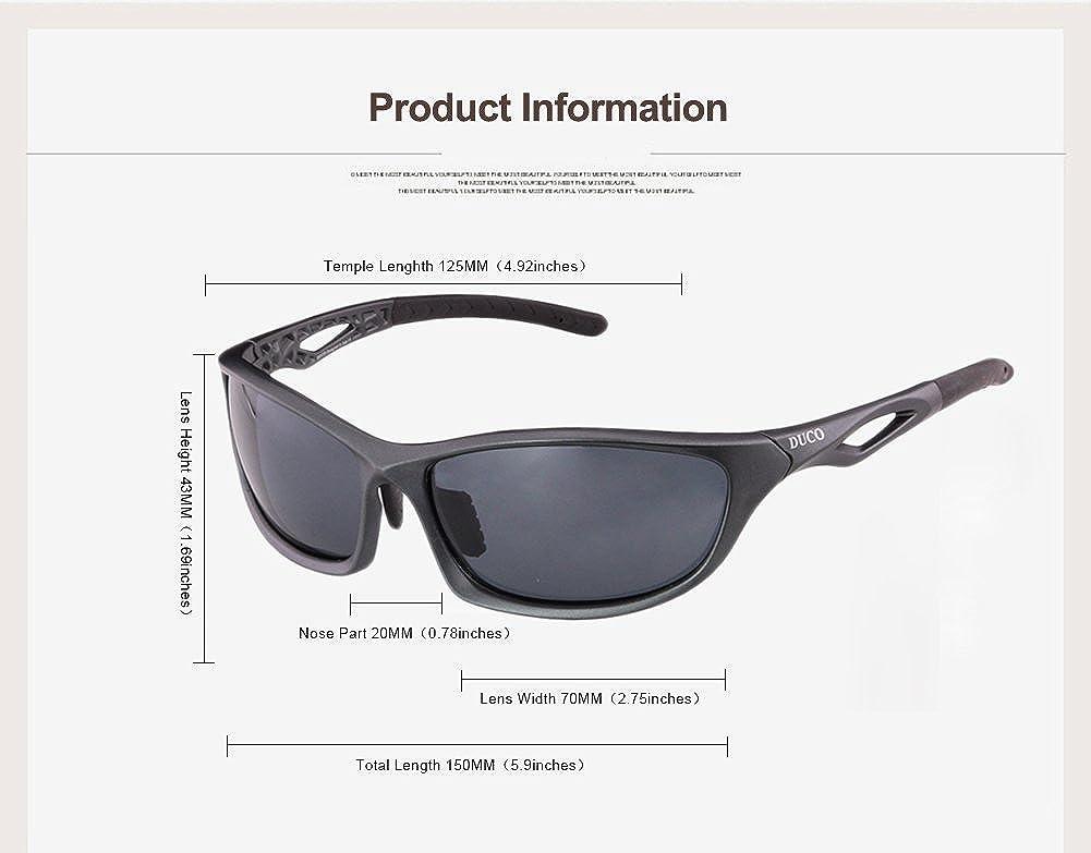 Duco polarizado gafas de sol para el ciclismo Running Golf Pesca y todos los deportes al aire libre 100% TR 90 Flexible marco irrompible 6211 (Gunmetal ...