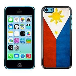 Caucho caso de Shell duro de la cubierta de accesorios de protección BY RAYDREAMMM - Apple iPhone 5C - Philippines Grunge Flag