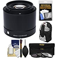 Sigma 60mm f/2.8 DN ART Lens with 3 Filters + Sling Backpack + Kit for Olympus / Panasonic Micro 4/3 Digital Cameras