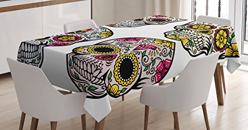 Day Of The Dead Decor Tablecloth by Ambesonne, Dia de Los Muertos Festive Celebration Skull Art Image, Dining Room Kitchen Rectangular Table Cover, 60 W X 90 L Inches, Yellow Pink Black White (Party City Dia De Los Muertos)