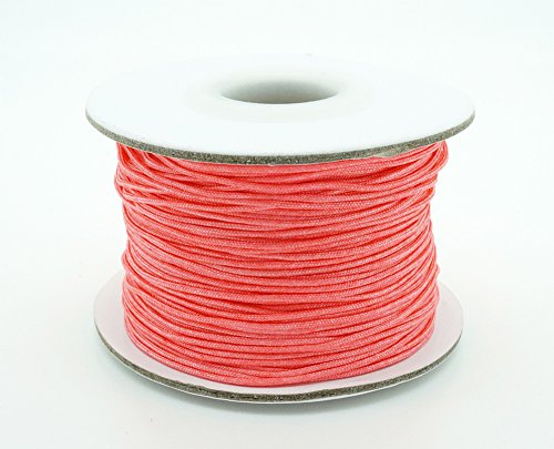 CORAL RED 0.8mm Chinese Knot Nylon Braided Cord Shamballa Macrame Beading Kumihimo String (50yards ()