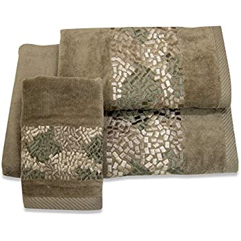 CROSCILL Mosaic Embroidered Bath Towel Mocha