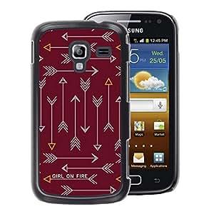 A-type Arte & diseño plástico duro Fundas Cover Cubre Hard Case Cover para Samsung Galaxy Ace 2 (Arrow Text Fire Text Maroon Brown)